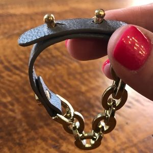Gray Leather and Gold Bracelet